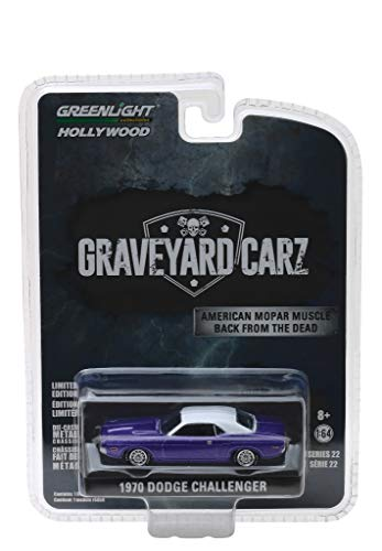 """1970 Dodge Challenger Purple with White Top Graveyard Carz (2012) TV Series (Season 5,""""Chally vs. Chally) Hollywood Series 22 1/64 Diecast Model Car by Greenlight 44820 F"""