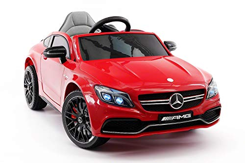 Moderno Kids Mercedes C63S 12V Power Children Ride-On Car with R/C Parental Remote + EVA Foam Rubber Wheels + Leather Seat + MP3 USB Music Player + LED Lights (Red)