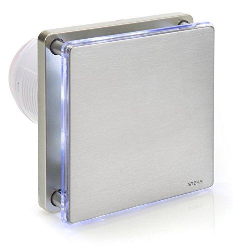 STERR - Silber Edelstahl Badezimmerlüfter mit LED-Beleuchtung und Timer - BFS100LT-S