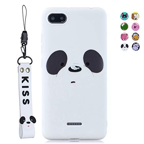 ChoosEU Compatible para Funda Xiaomi Redmi 6A Silicona Dibujos Oso Panda Carcasas para Chicas Mujer Niño, Case Blando Resistente Antigolpes Cover Caso Protección Cordón con Correa - Blanca