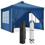 HOTEEL 3x3M Pavillon Wasserdicht Faltpavillon Outdoor Pop-up-Überdachungszelt Gartenpavillon mit 4 Seitenwände und 4 Sandsack, UV Schutz (3x3 M, Blau)