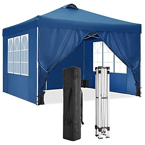 HOTEEL 3x3m Faltpavillon Wasserdicht Pavillion Gartenzelt Dachmaß Bierzelt with 4 Seitenteilen and 4 Sandsacks (3x3 Mit 4 Seitenteilen, Blau)