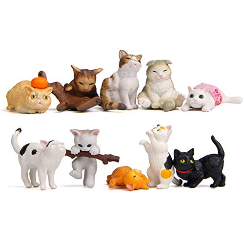 10 Pcs Kawaii Animal Cat Character Toys, Cake Toppers, Cat Figures Collection Playset Desk Decorations