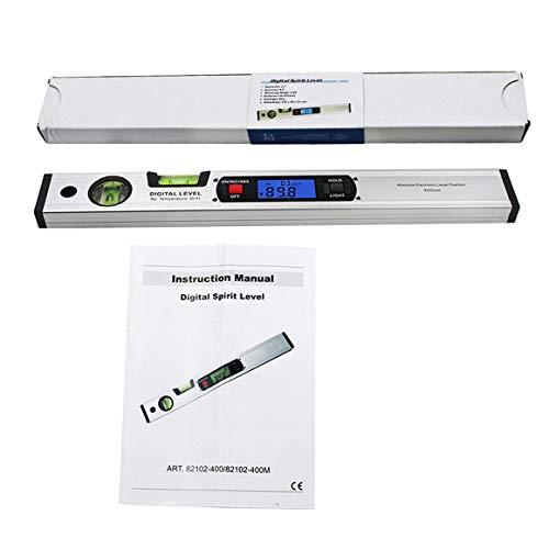 Persdico Inclinómetro de transportador digital de 360 grados Regla de prueba de buscador de ángulo de nivel electrónico sin imanes 400 mm