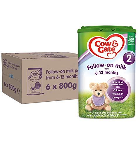 Cow & Gate 2 Follow On Baby Milk Powder Formula, 6-12 Months, 800g (Pack of 6)