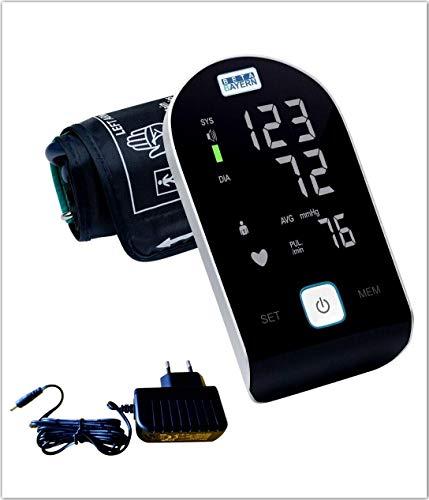 BETA BAYERN Oberarm Blutdruckmessgerät, Modernes Design, vollautomatisch, Touch-Taste, Arrhythmieerkennung, mit Netzeil