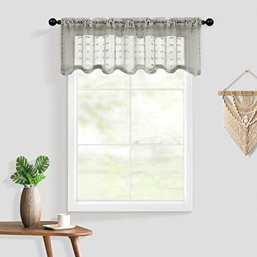 Guken Window Valances for Kitchen Farmhouse Boho Modern Pocket 1 Panel Faux Linen Texture Pretty Cute Pompom Curtain Sheer Valance for Windows Living Room Girls Bedroom Bathroom 52'' x 18'', Grey