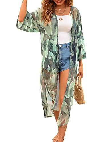 Women's Long Kimono Cover Ups Watercolor Print Summer Cardigan Dusters Chiffon Sheer Beach Green Medium