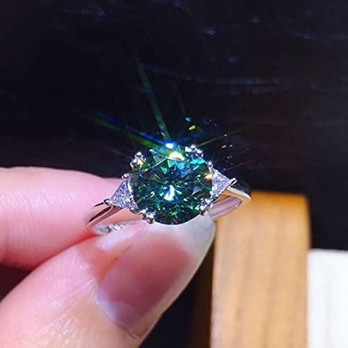 HCMA 3 Quilates Moda Artificial Verde y Blanco Azul Moissanite Anillo Ajustable de Piedras Preciosas para Mujer joyería Regalo de Compromiso