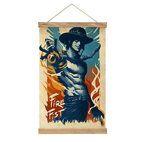 Cartel de una pieza para colgar en la pared, lienzo de pergamino de pintura japonesa de anime para el hogar, impresión de pared, decoración de madera, 33 x 50 cm