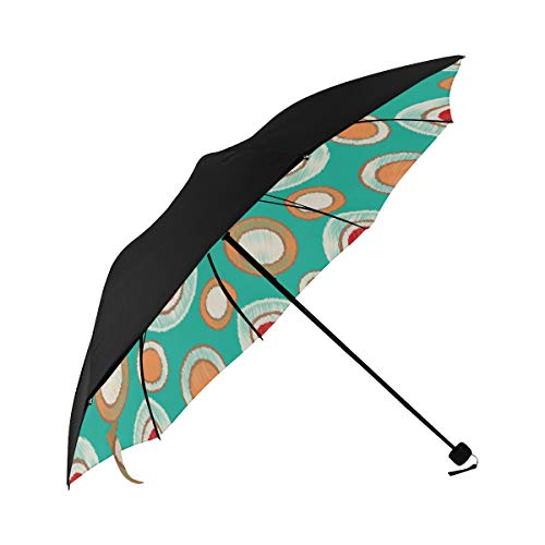 Best Travel Umbrella Ikat Image Circles Underside Printing Travel Umbrella Stroller Mens Umbrella Compact Umbrella Foldable With 95% Uv Protection For Women Men Lady Girl