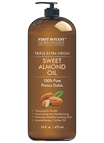 Cold Pressed Sweet Almond Oil - Triple AAA+ Grade Quality, For Hair, For Skin and For Face, 100% Pure and Natural with Pump dispenser, 16 fl oz