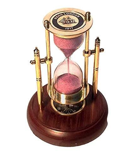 Retro Pirates Temporizador de arena de latón antiguo con brújula de base de madera, artículo de regalo perfecto ~ Decoración de mesa ~ Reloj de arena