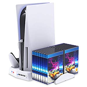 Vertical Stand for Playstation 5 with Cooling Fan Charging Station for PS5 Digital Edition/Ultra HD Console with Controller Charger Game Rack Storage Organizer USB Ports for PS5 and DualSense-White from FYOUNG