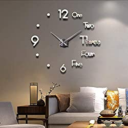 FASHION in THE CITY Large 3D Frameless Wall Clock Stickers DIY Wall Decoration for Living Room Bedroom Office (Silver)