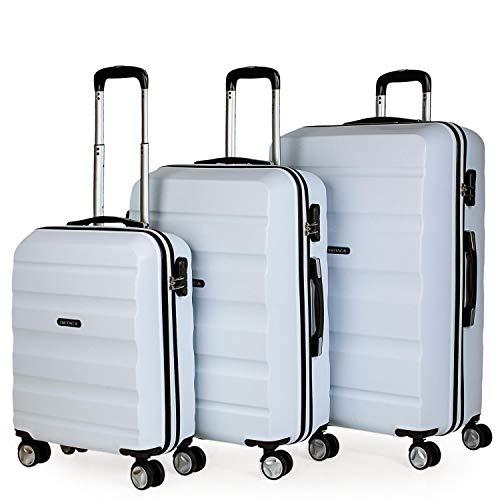 ITACA - Set di 3 valigie trolley ABS. Rigido, resistente e leggero. Maniglia telescopica. 2 maniglie 4 ruote doppie. Lucchetto incorporato Piccolo per T71600 a basso costo, Color Bianco