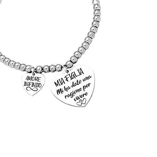 Beloved Bracciale da donna, braccialetto in acciaio emozionale - frasi, pensieri, parole con charms - ciondolo pendente - misura regolabile - incisione - argento - tema famiglia (MF12)