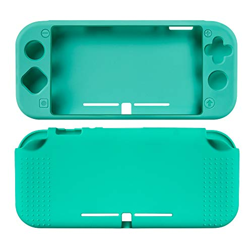 TNE Protective Cover for Nintendo Switch Lite Console Full Body Soft Silicone Case w/ Tempered Glass Screen Protector (Turquoise)