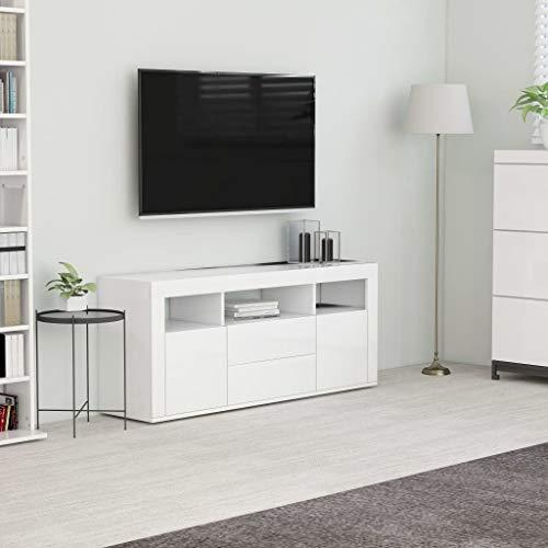 vidaXL Mueble para TV Salón Comedor Mesa Centro Televisión Televisor Equipo de Música Armario Bajo Almacenaje Soporte Aglomerado Blanco 120x30x50cm