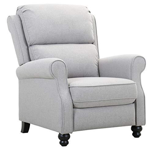 Amazon Brand – Ravenna Home Push-Back Recliner Living Room Chair, 33.9'W, Light Grey