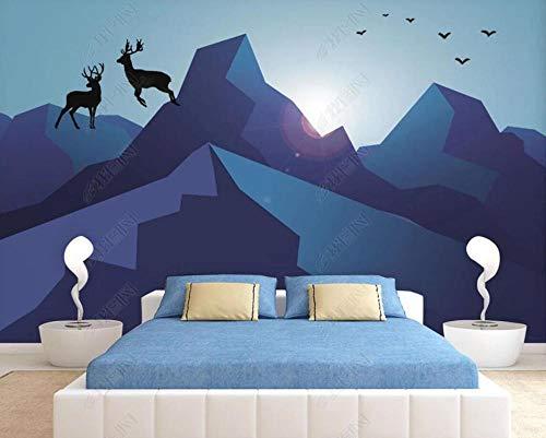 Papel Pintado 3D Alce De Montaña Geométrica Fotomurale 3D Tv Telón De Fondo Pared Decorativos Murales Moderna