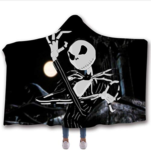 Hooded Blanket by CNKOBE, Horror Mysterious Character Hooded Blanket for Adult Gothic Sherpa Fleece Wearable Throw Blanket Microfiber Bedding (H, 78.7x59inch)