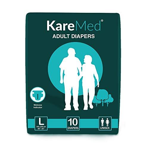 "KareMed Adult Diaper Large ,Waist Size 101-139cm (40""-55"") ,10 Pcs"