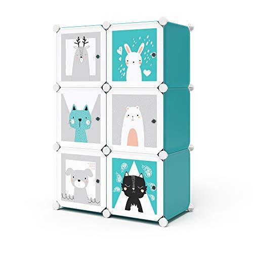 Vicco Kleiderschrank Andy Kinder modular Kinderregal Kleiderstange Steckregal (Blau, 6 Fächer - Katze)