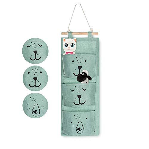 Ambolio Wand Hängen Tasche,Hängender Organizer mit 3 Taschen,Badezimmer hängende Tasche,Hängende Tasche für Kinder,Baby hängende Tasche (Grün)