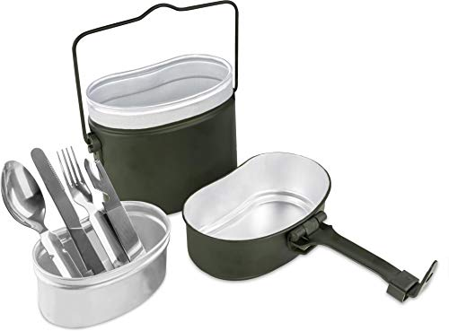 normani Original Bundeswehr Essgeschirrset Essbesteck + BW Aluminium Kochgeschirr Camping-Geschirr Besteck-Set - leichtes rostfreies Reisebesteck