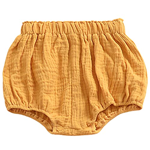 Arbest Unisex Baby Girls Boys Ruffle Shorts Bloomers Toddler Cute Basic Shorts Solid Color Cotton Linen Shorts Harem Pants (A Yellow,4-5 Years)