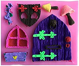 Gnome Fondant Mold Fairy Wizard Silicone Cupcake Baking Molds House Cartoon Door Forest Party Fondant molds Wood Door Window Cake Decorating Tools Gumpaste Mushroom Chocolate Candy Clay Mould