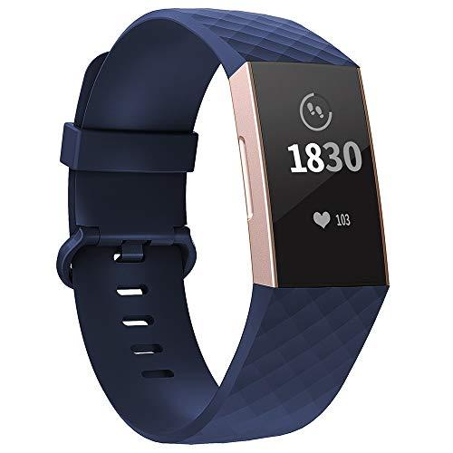 Adepoy für Fitbit Charge 3 Armband, Verstellbarer klassischer Sport Ersatzarmband Kompatibel mit Fitbit Charge 3/ Charge 3 SE, Damen Herren (Marine Blau, Klein)