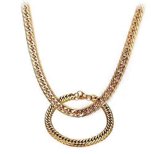 Aeici Conjunto de Collar y Pulsera de Titanio Collar Cadena Hombre Pulsera Hombre Hip Hop Cadena de Bordillo de 7.5Mm Oro Pulsera 21.5Cm,Collar 60Cm