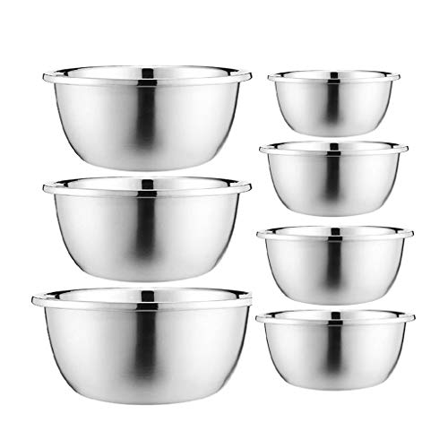 HAOXIANG Stainless Steel Mixing Bowl (7 Piece Set), Large Nested Salad Bowls for Cooking and Baking Home Preparation Food and Kitchen – Dishwasher-Cleanable