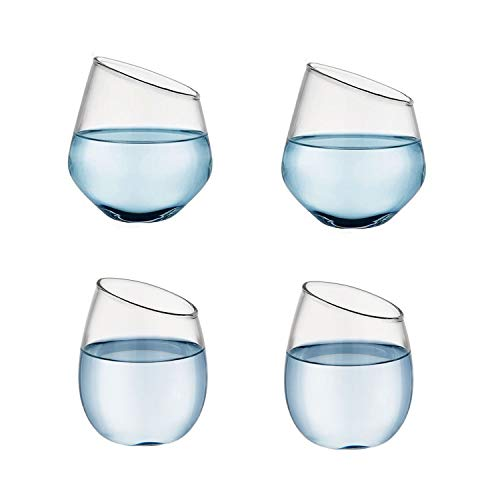 Stemless Wine Glasses for Wine, Slanted Glass Cup for Milk Juice Water, Heat-Resistant High Borosilicate Glassware (Set of 4) 11 OZ