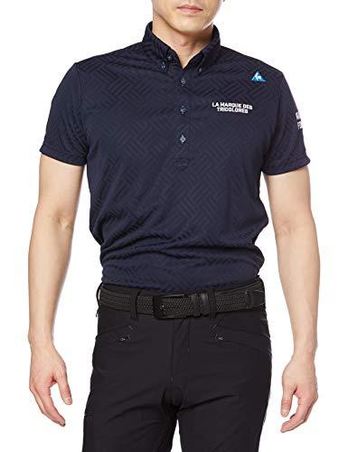 [ルコックスポルティフゴルフ] 21年春夏モデル 半袖シャツゴルフ 定番 シンプル ジャガード 吸汗速乾 UVケア QGMRJA09 nv00(ネイビー) l
