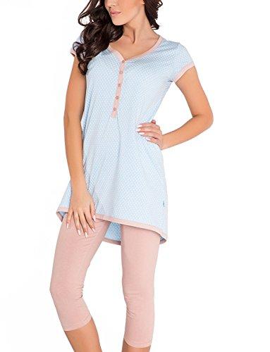 Dn-Nightwear PM.5037 Pigiama Di Maternita,XL,Azzurro-Marrone