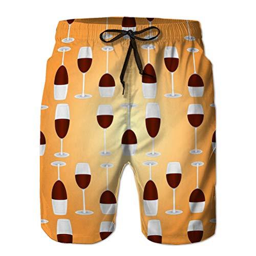 Yuerb Pantalones Cortos de Playa para Hombre Pantalones Cortos de Tabla Traje de baño Transpirable Gafas Vino Tinto Patrón sin Costuras Fondo Naranja