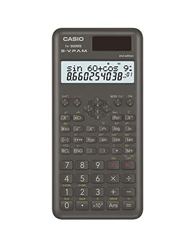 Casio Calculadora científica FX300MSPLUS2 2ª edição, com novo design elegante, preta, 1 cm x 7,6 cm x 16,3 cm