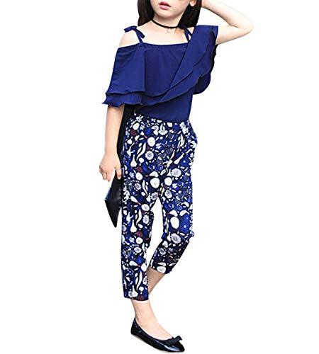 Elonglin Mädchen Sommer Kleidung Set Anzug Sets Blau Schuterfrei Tops mit Floral Chiffon Hose Blau DE 152 (Asie 160)