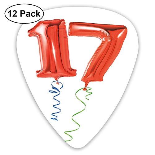 Gitaar Picks12pcs Plectrum (0.46mm-0.96mm), Zoete Zeventien Met De Partij Ballonnen Met Krullend Beeld Print,Voor Uw Gitaar of Ukulele