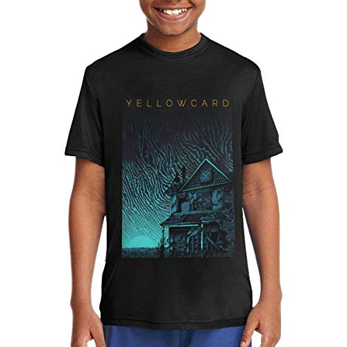 Yellowcard Music/Rock/Singer Cotton Shirt Round Neck Short Sleeve Shirt for Teen Boys and Girls Classic Fit Black,T-Shirts & Hemden(X-Large)