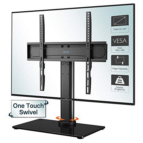 BONTEC TV Standfuss TV Ständer Standfuß Schwenkbar für 26-55 Zoll LCD LED OLED Plasma Flach & Curved Fernseher bis zu 40KG, Freie Bewegung Schwenkbar & Höhenverstellbar, Max.VESA 400x400