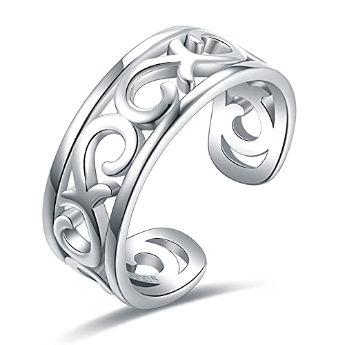 925-Sterling-Silver Celtic Flower Thumb Ring - Baroque Open Adjustable Resizable Ring Hawaiian Leaf Dainty Tail Pinky Toe Knuckle Rings Knot Eternity Wedding Band Ring Gifts for Women Men Teen Girls (White Gold)