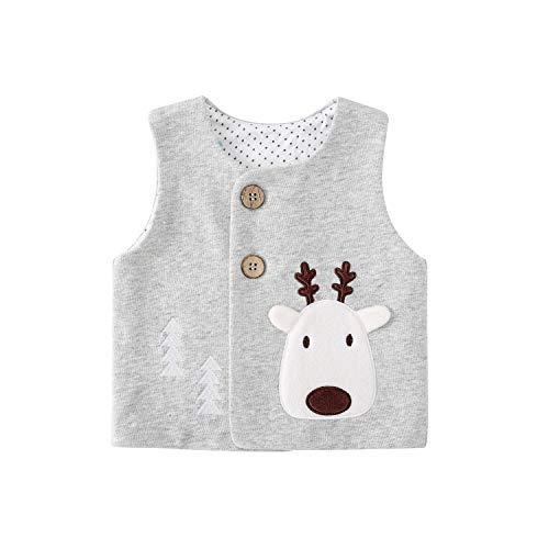 pureborn Toddler Baby Boys Cartoon Christmas Deer Cotton Lined Vest Waistcoat Gray 2-3 Years
