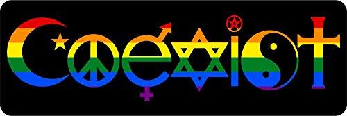 Akachafactory Aufkleber für Auto, Motorrad, Motiv: Coexist, Frieden, Toleranz, Religion, Regenbogenfarben