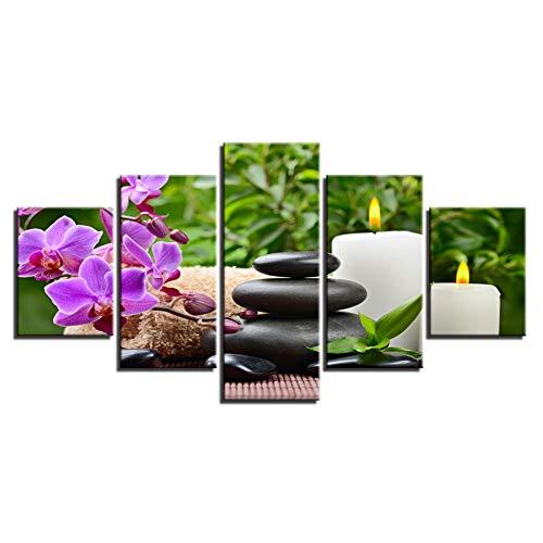 WZMFBH Wandkunst Leinwand HD Drucke Poster Framework 5 Stück Schmetterling Orchidee Kiesel Kerze Gemälde Steine Steine Bilder Home Decor