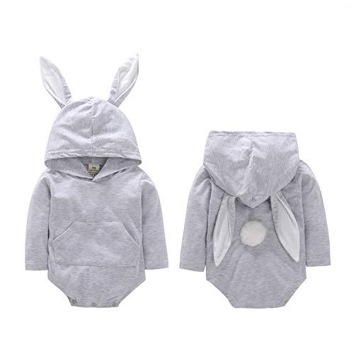 WangsCanis Pelele de beb unisex con capucha, orejas de conejo de manga larga, disfraz para Pascua, 0  18 meses gris 6-12 meses