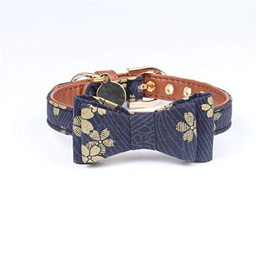 Halsband voor honden, bowknot blauw met gouden bloemen, zachte zachte kluis, voor alle seizoenen, ademend, zacht gevoerd, licht, gezellig, voor buiten, 1.0*28CM